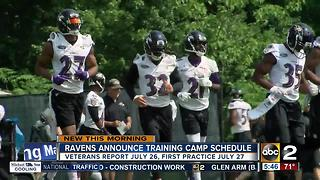 Ravens release 2017 training camp schedule - Video