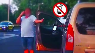 Driver stopped for speeding steps out of car on the phone