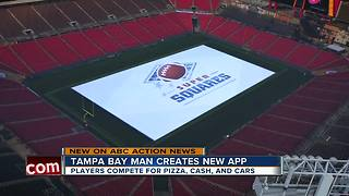 Game show app allows people watching football to win pizza, cash and cars - Video