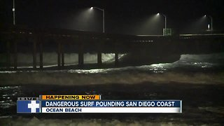 Dangerous surf continues to pound San Diego's coast