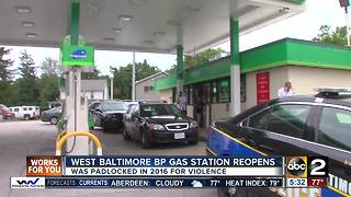 West Baltimore BP gas station reopens after being padlocked for violence - Video