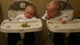 Hungry Baby Steals His Sleeping Brother's Peas