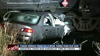 Mother and 3-year-old son killed in car crash with parked train in Polk County - Video