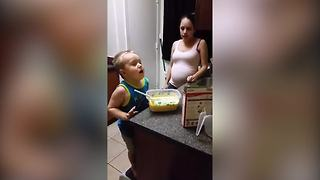 Funny Tot Boy Sneeze Into The Cupcake Batter - Video