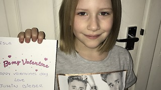 The Emotional Moment Girl Gets Valentine's Day Card From 'Justin Bieber' - Video