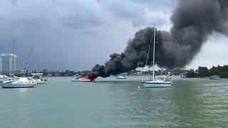 30-Foot Catamaran Catches Fire Near Miami's Pelican Harbor Marina - Video