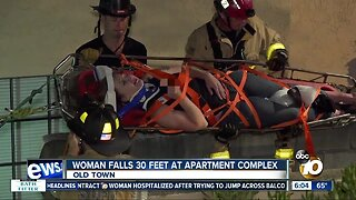 Woman rescued after falling 30 feet at Old Town apartment complex