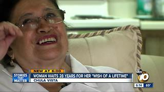 Woman waits 28 years for her 'wish of a lifetime' - Video