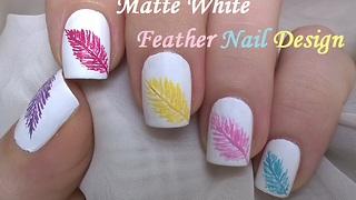 Matte White Feather Nail Design - Video