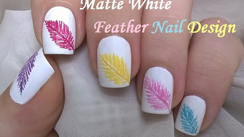 Matte White Feather Nail Design