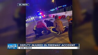 Deputy injured in freeway accident