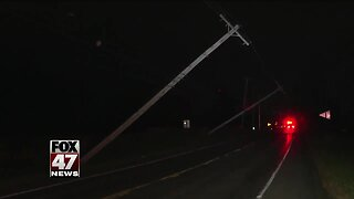 Leaning poles close down intersection