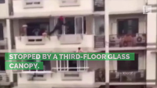 Strangers Risk Their Lives for Age 2 Girl Dangling from Balcony After Left Home Alone - Video