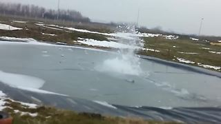 They Wanted To Make An Explosion Under A Layer Of Ice, And This Is The Result - Video