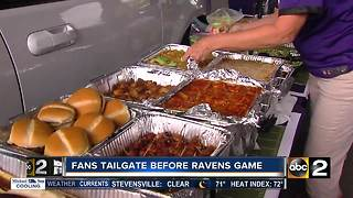 Baltimore Ravens fans tailgate before the season home opener - Video