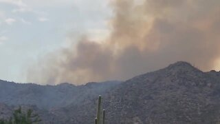 Edwin Fire burning in Tortolita Mountains