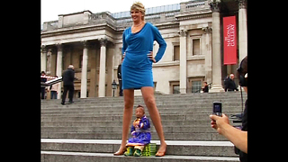 Smallest Man Meets Tallest Legs - Video