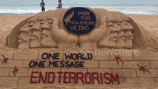 Indian sand artist makes special message for New Zealand shooting victims