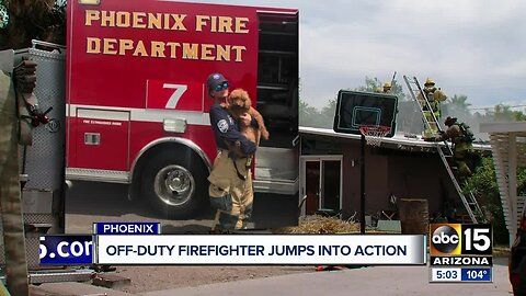 Off-duty firefighter saves dog from house fire