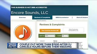 Couple out more than $1500 after DJ cancels hours before their wedding