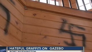 Hateful graffiti on gazebo - Video