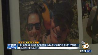 Normal Heights burglar rips screen, grabs 'priceless' items - Video