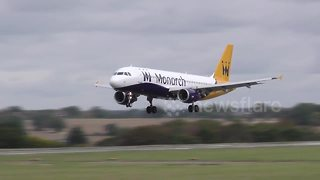 Monarch Airlines aircrafts at London Luton and Manchester Airport - Video