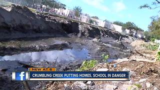 Clearwater creek erosion putting homes and school in danger - Video