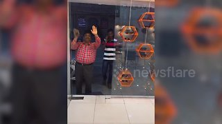 Hilarious glass door prank goes viral in India - Video