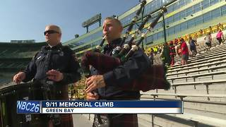 Climbers honor 9/11 first responders by walking Lambeau's steps - Video