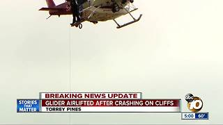 Paraglider rescued after crashing into cliff in Torrey Pines - Video