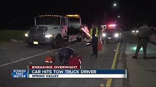 Tow truck driver hospitalized after being hit by car on SR-125 - Video