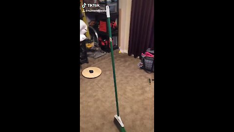 Broom stands upright all by itself while Earth is at the perfect angle