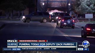 Law enforcement officers begin arriving at church for Deputy Zack Parrish's funeral