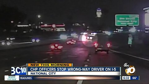CHP officers stop wrong-day driver on I-5