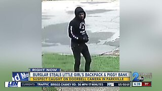 Caught on video: Burglar takes off with girl's Minnie Mouse backpack and piggy bank