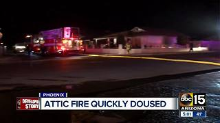 Attic fire quickly extinguished in Phoenix - Video