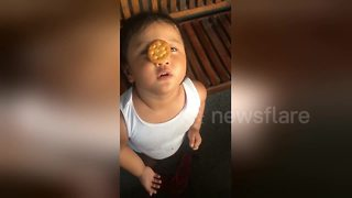 Toddler tries to eat biscuit balanced on her nose - Video