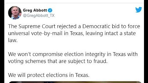 Supreme Court Rules Against Universal Vote-By-Mail in Texas, Due to fraud