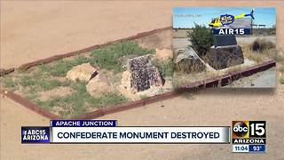 Phoenix Confederate monument defaced with paint; Apache Junction area monument damaged - Video