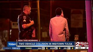 Two vehicles collide in midtown Tulsa - Video
