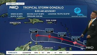 Tropical Storm Gonzalo is forecast to dissipate