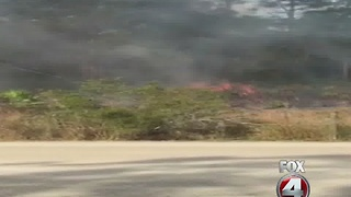 Power lines igniting a fire in Lehigh Acres - Video