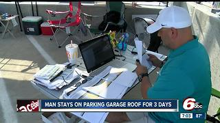 Man stays on parking garage for three days