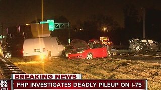 One dead in semi involved five-vehicle traffic crash on I-75 near Bruce B. Downs Blvd. - Video