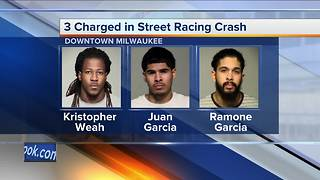 3 men face felony charges for drag racing, crashing into business, shooting at officers in downtown Milwaukee - Video
