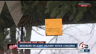 Indy neighborhood warns delivery notices could be potential scam - Video