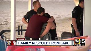 Family rescued after falling off boat into Tempe Town Lake
