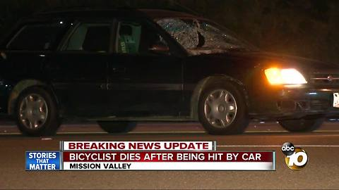 Bicyclist dies after being hit by car in Mission Valley