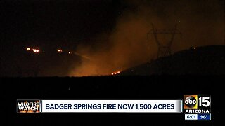 Badger Springs Fire now 1,500 acres